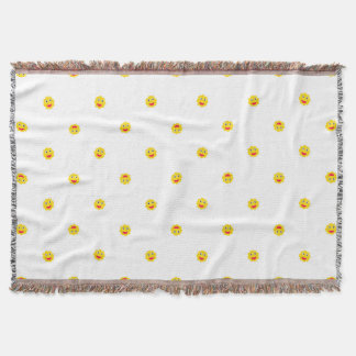 Happy Sun Motif Kids Pattern Throw Blanket