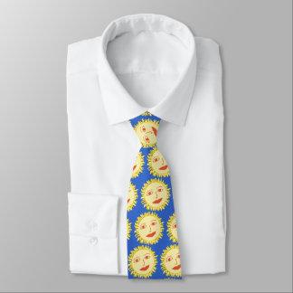 Happy Sun Pattern On Sky Blue Tie