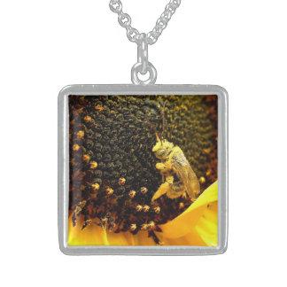 Happy Sunflower Bee Square Pendant Necklace