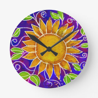 Happy Sunflower Round Clock