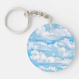 Happy Sunny Clouds Blue Background Double-Sided Round Acrylic Key Ring