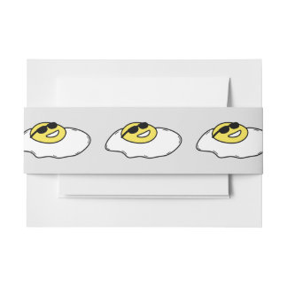 Happy Sunny Side Up Egg with Face - Sunglasses Invitation Belly Band
