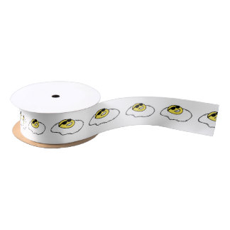 Happy Sunny Side Up Egg with Face - Sunglasses Satin Ribbon
