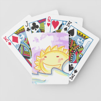 Happy sunrise smiling sun playing cards