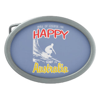 Happy Surfer AUSTRALIA (Wht) Belt Buckle