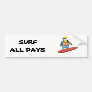 Happy Surfer Bumper Sticker