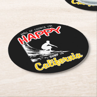 Happy Surfer CALIFORNIA (Wht) Round Paper Coaster
