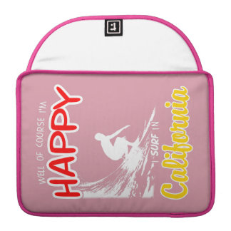 Happy Surfer CALIFORNIA (Wht) Sleeve For MacBook Pro