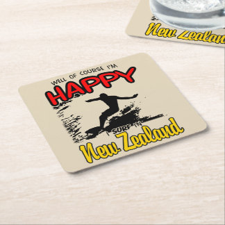 Happy Surfer NEW ZEALAND (Blk) Square Paper Coaster