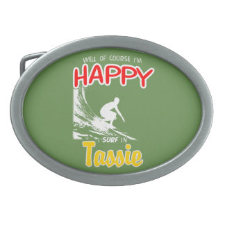 Happy Surfer TASSIE (Wht) Oval Belt Buckle