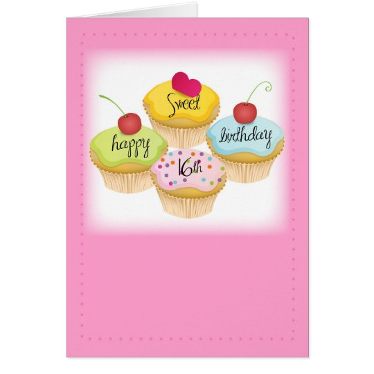 Happy 16th Birthday Gift Ideas Spaceform Sweet Sixteen: Happy Sweet 16th Birthday, Pink Card For Girl
