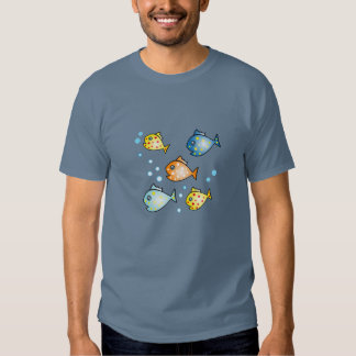 Happy Swimming Fish Mens Dark T-shirt