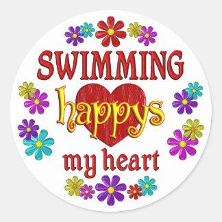 Happy Swimming Round Sticker