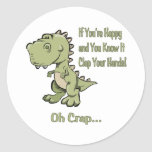 Happy T-Rex Round Stickers