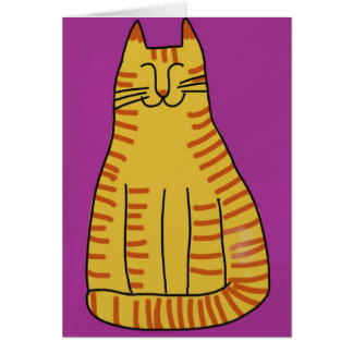 Happy Tabby with Purple Background Card