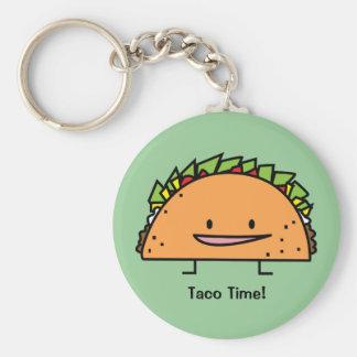 Happy Taco Basic Round Button Key Ring
