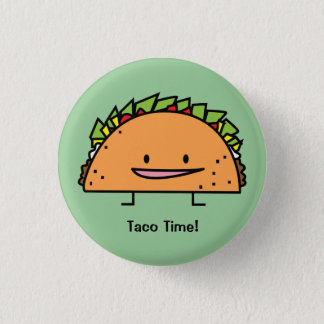Happy Taco corn shell beef meat salsa Mexican food 3 Cm Round Badge
