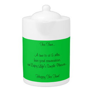 Happy Tea Time Quote Green White Porcelain Teapot