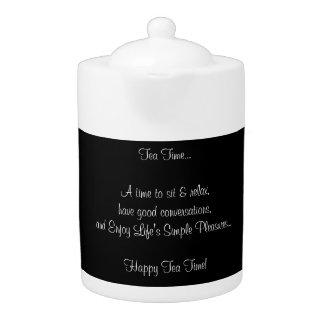 Happy Tea Time Quote Porcelain Black White Teapot