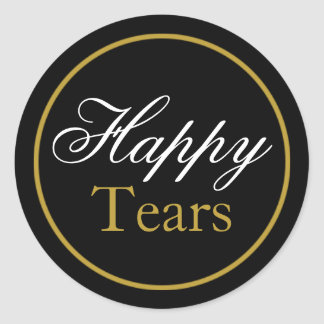 """Happy Tears"" Wedding Sticker - Black Gold"