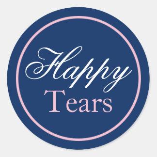 """Happy Tears"" Wedding Sticker - Blush Pink/Navy"