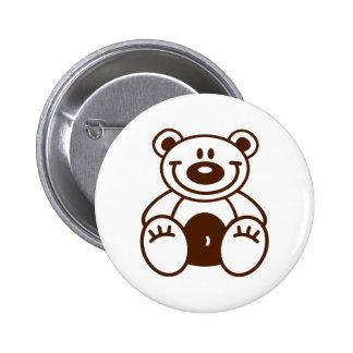 Happy teddy bear 6 cm round badge
