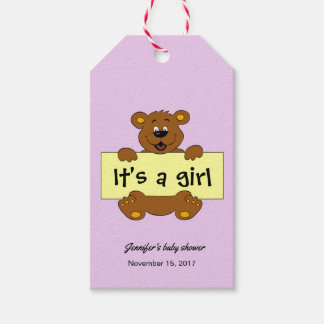 Happy teddy bear pink baby girl shower thank you gift tags
