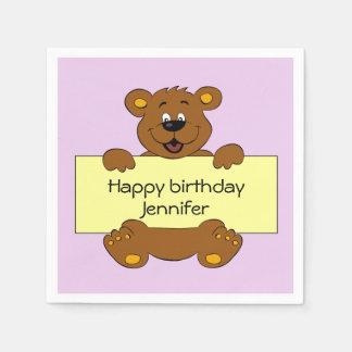 Happy teddy bear pink birthday girl name kids paper serviettes
