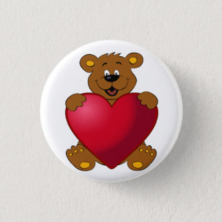 Happy teddybear with heart cartoon 3 cm round badge