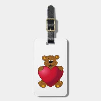 Happy teddybear with heart cartoon luggage tag