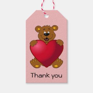 Happy teddybear with heart cartoon thank you girl gift tags