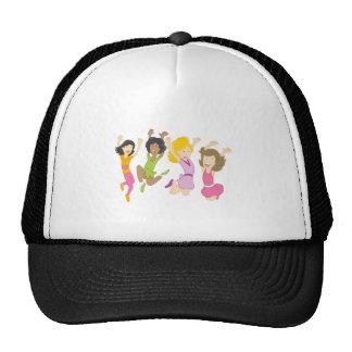 Happy Teenage Girls Jumping Cartoon Trucker Hat