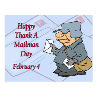 Happy Thank a Mailman Day February 4 Post Card