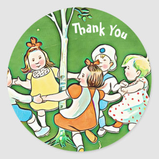 Happy Thank You stickers, children dancing, green Classic Round Sticker