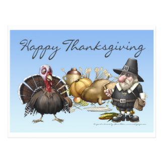 Happy Thankgiving Card With Pilgrim And Turkey Postcard