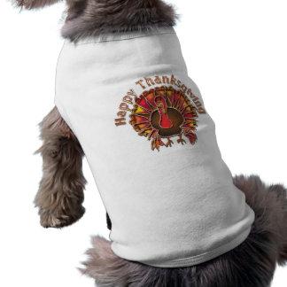 HAPPY THANKGIVING TURKEY by SHARON SHARPE Sleeveless Dog Shirt