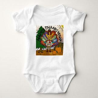 Happy Thanks Vegan Thanksgiving Turkey Baby Bodysuit