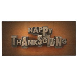 Happy Thanksgiving 2 Wood USB 2.0 Flash Drive