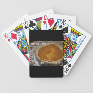Happy Thanksgiving And Pumpkin Pie Bicycle Playing Cards