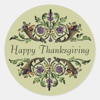 Happy Thanksgiving Antique Cornucopias Art Sticker