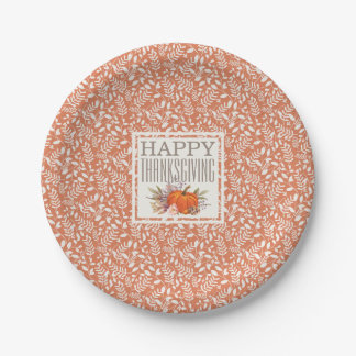 Happy Thanksgiving | Autumn Harvest Leaf Pattern Paper Plate