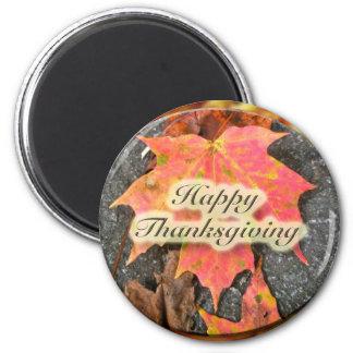 Happy Thanksgiving Autumn Maple Leaf Series 6 Cm Round Magnet