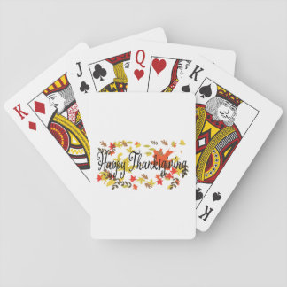 Happy Thanksgiving background with colorful autumn Playing Cards