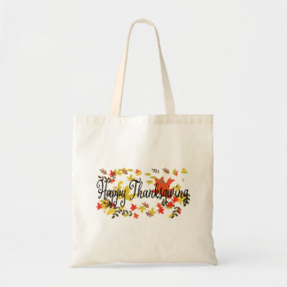 Happy Thanksgiving background with colorful autumn Tote Bag