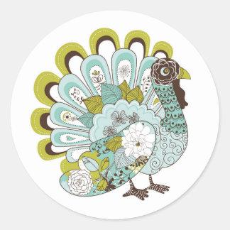 Happy Thanksgiving Beautiful Turkey Card 2 Round Sticker
