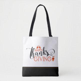 Happy Thanksgiving Black & Orange Typography Tote Bag