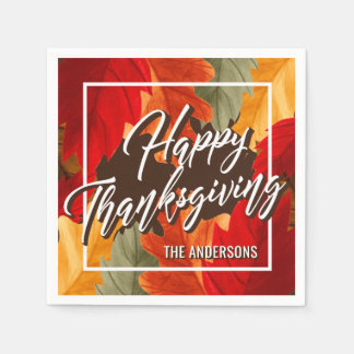 HAPPY THANKSGIVING BOLD BRIGHT WATERCOLOR LEAVES DISPOSABLE SERVIETTES