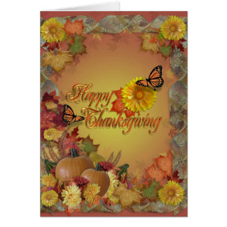 Happy Thanksgiving butterflies and flowers Card