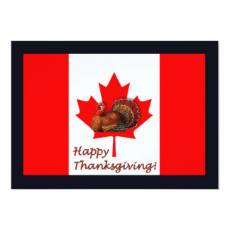 Happy Thanksgiving Canada with flag and turkey 13 Cm X 18 Cm Invitation Card