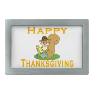 Happy Thanksgiving Chipmunk With Corn Rectangular Belt Buckles